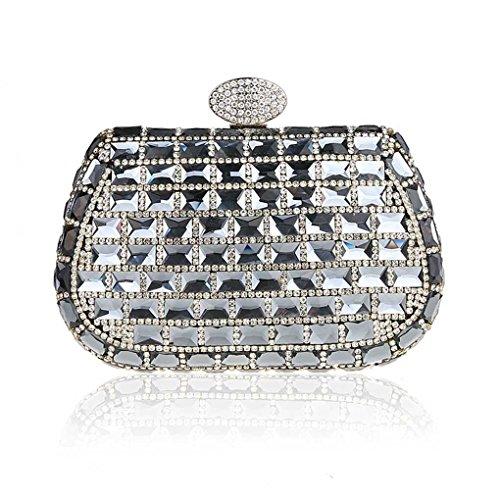 KAXIDY Carteras de Mano Bolso de Embrague Cristal de Diamante Bolso de Tarde para Mujer Chica Boda Fiesta (Negro) negro