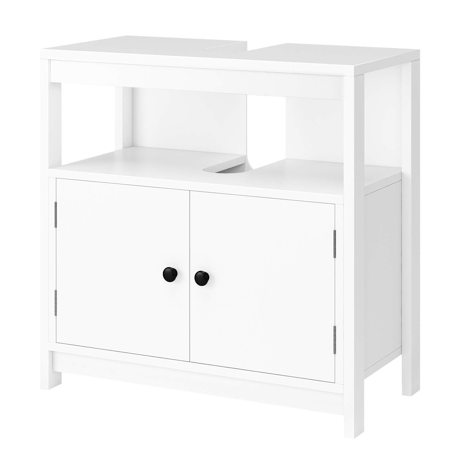 Homfa Under Sink Bathroom Cabinet Basin Storage Cupboard Floor Cabinet Double Doors 1 Compartment White 60x30x60cm HF