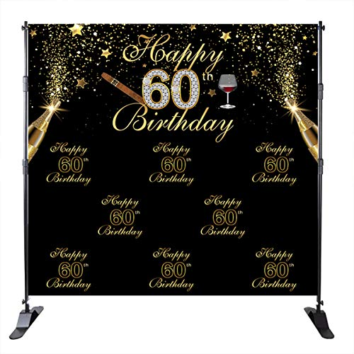 Mehofoto 60th Birthday Backdrop Champagne Cigar Background Black