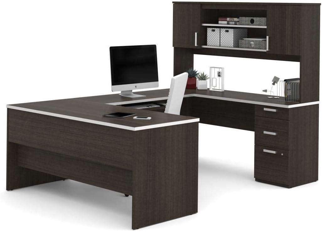 Bestar U-Shaped Desk with Pedestal and Hutch - Ridgeley