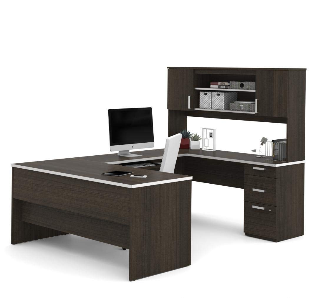 Bestar U-Shaped Desk with Pedestal and Hutch - Ridgeley by Bestar