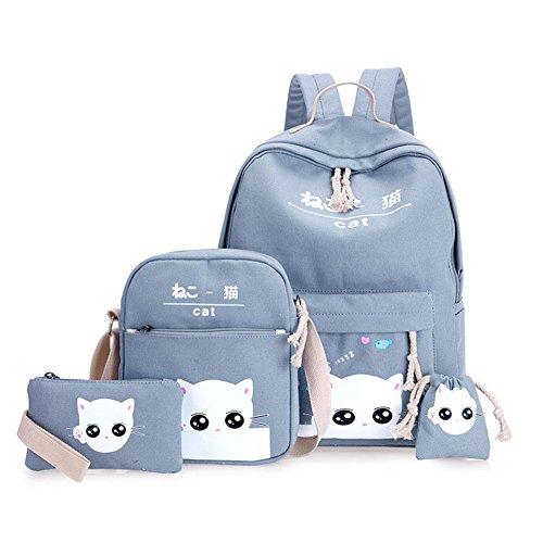 Adealink 4 Pcs/Set Fashion Korean Women Backpack Canvas Lovely Cartoon Cat Printed Shoulder Bags Pencil Case Lady Girl School Bag