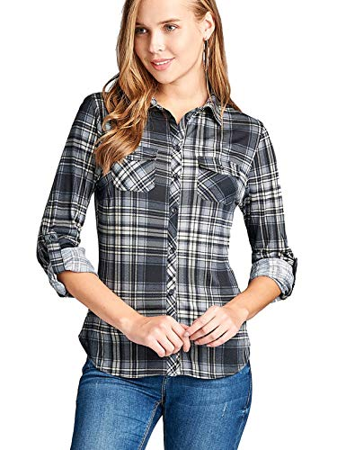 Instar Mode Womens Checkered Plaid Roll Up Sleeve Stretch Knit Button Down Shirt