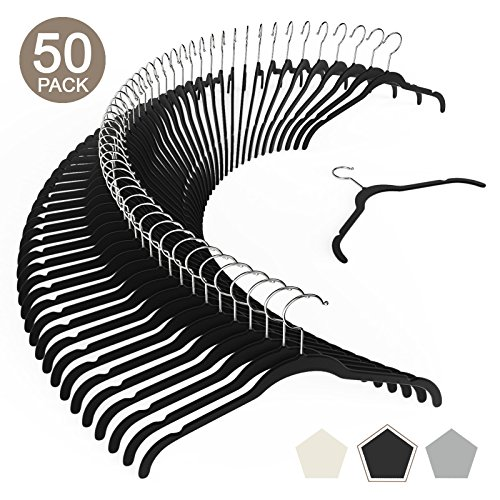 VEEYOO Set of 50 Premium Velvet Shirt/Dress Hangers - Heavy Duty, Ultra Thin, Non Slip & Space Saving Clothes Hangers - 360 Degree Swivel Hook Velvet Hangers for Coat Suit Shirt Dress - Black