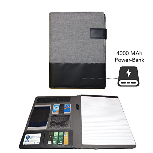 Personalized Clipboard - Business Portfolio – Built-in Powerbank – Professional Pu Leather Organizer