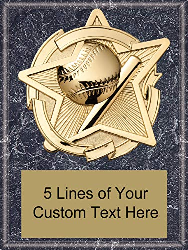 (Express Medals 8 x 10 Black Marble Finish Baseball Star Plaque Trophy Award with Custom Engraved Personalized Text)