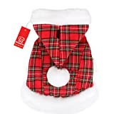 Puppia Santa Claus Winter Coat, Medium, Checkered Red, My Pet Supplies