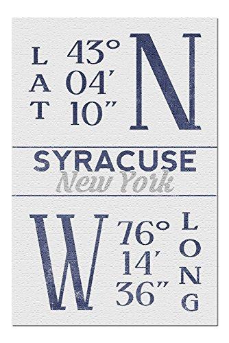 Syracuse, New York - Latitude and Longitude (Blue) (20x30 Premium 1000 Piece Jigsaw Puzzle, Made in USA!) (Latitude And Longitude Of New York Usa)