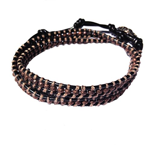 Unisex Slim Double Wrap Leather Bracelet with Opaque Brown Bead & Toggle Fastening Gb561