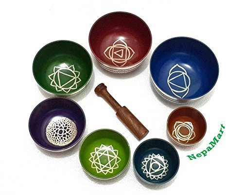 Chakra Healing Tibetan Singing Bowls (Set of 7) for A,B,C,D,E,F,G Chakras By NepaMart by NepaMart
