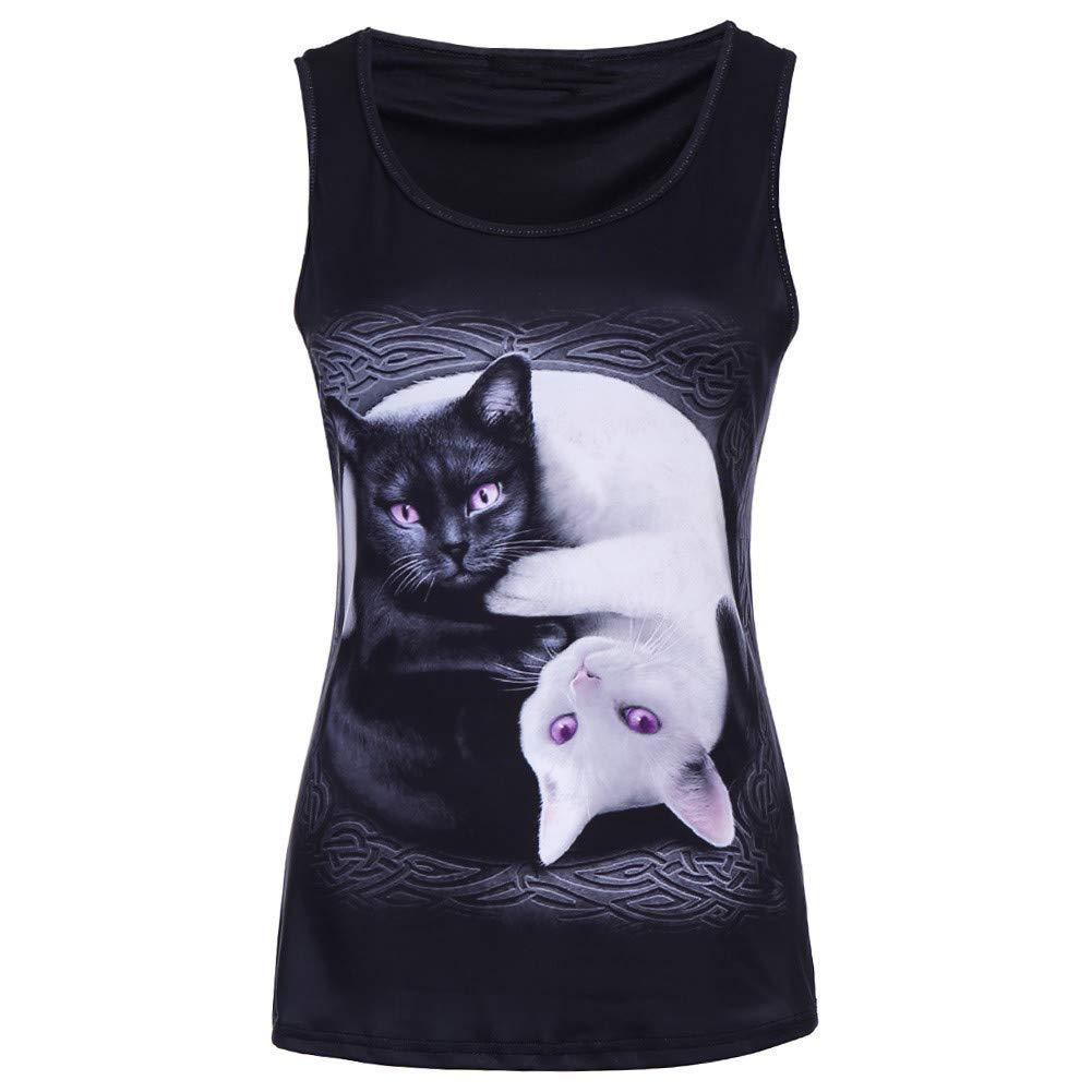 T Shirt Maker, V Neck Blouses for Women Women 3D Printed Cat Sleeveless Tank Tops O-Neck Vest Casual Blouse Black