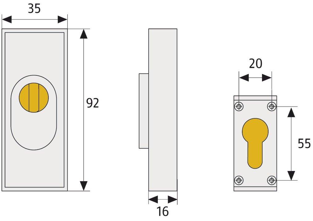 dunkelbraun 09403 ABUS T/ür-Schutzrosette RSZS316 B7 mit Zylinderschutz f/ür Metallt/üren