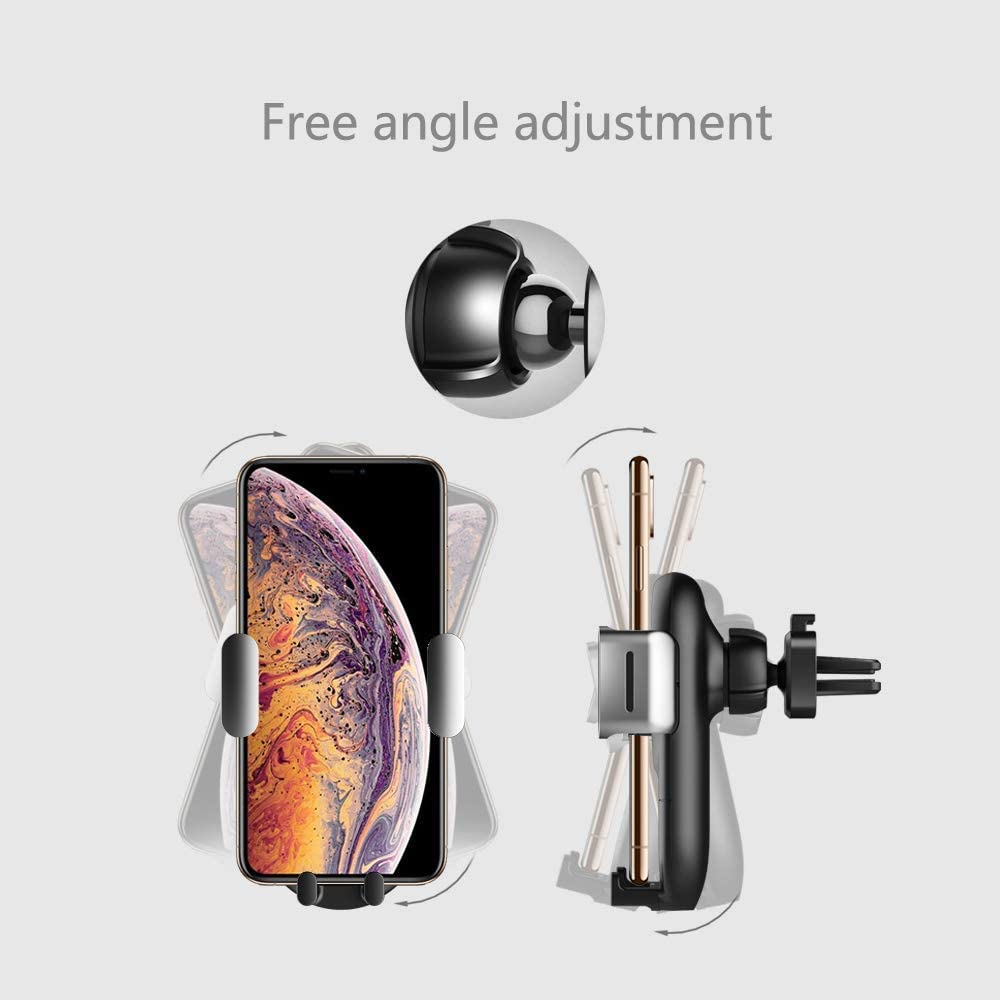 WINDFRD Car Mount Adjustable Air Vent Wireless Charger 10W//7.5W Gravity Phone Holder for iPhone 11PRO//11//XS//XSMax//XR//X //8//8Plus Samsung Nexus Moto OnePlus HTC Sony Nokia Android Smartphones