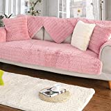 YQ WHJB Plush Solid Color Sofa Cover,Anti-Slip Bay Window Pad,Decoration Japanese Quilting Carpet Pad Sofa Towel-Pink 110x160cm(43x63inch)