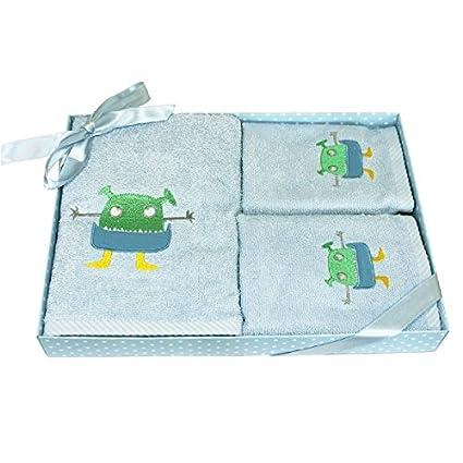 Harwoods Set de regalo de 3 toallas infantiles - Monstruo - Azul