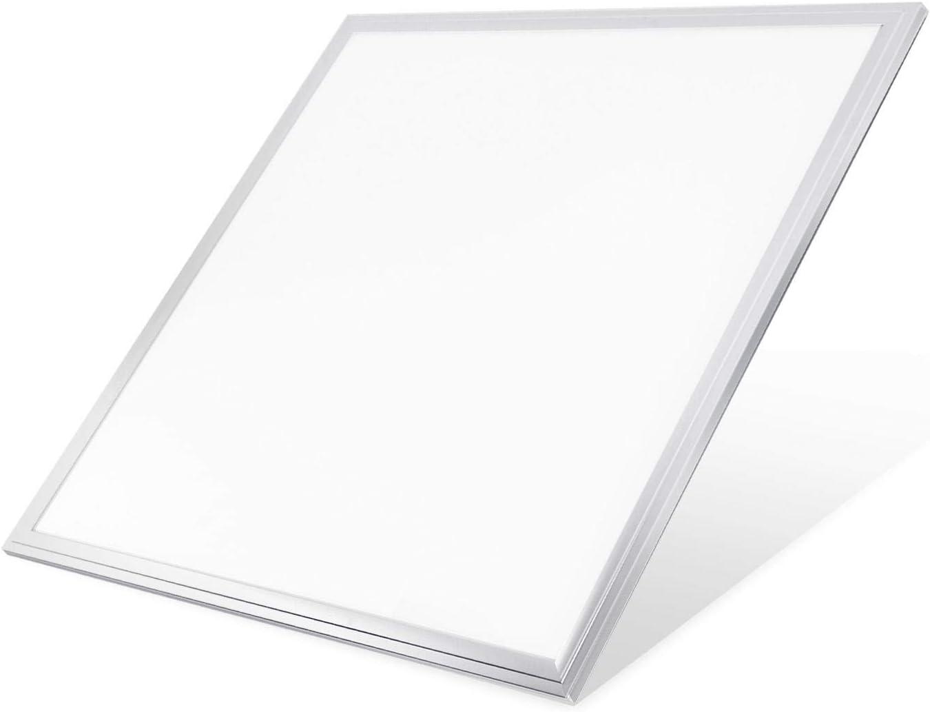 Aigostar - Panel LED Slim cuadrado 595x595mm, 40W, 3600 lúmenes, luz blanca 6000K. Marco color plata. [Clase de eficiencia energética A+]