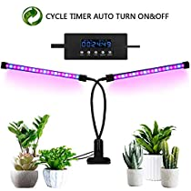 Grow Light for Indoor Plants, 2018 Latest Timing Function (Auto ON/OFF) with 36 LED(18W) Dual Head Clamp Clip Plant lamp, Adjustable Flexible 360° Gooseneck, 3 Working Modes, 5 Dimmable Levels for Hydroponics Greenhouse Gardening Seeding Growing(Adapter Included)