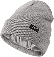 Satin Lined Winter Beanie Hats for Women Knitted Watch Hat with Silk Lining Unisex Solid Skull Cap