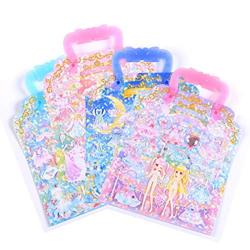 SPRITE WORLD Puffy Stickers Pad Sets Princess Castle Dress up Reusable Portable Sticker Activity Pad Play House Girls Gifts (4 Sets)