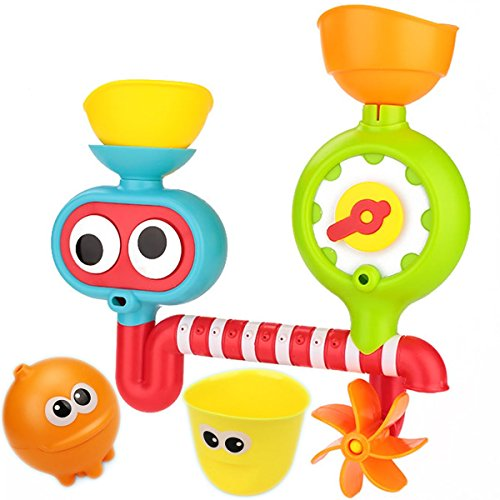 The Fill And Spin Water Fountain Bath Toys - Flow Fill Spin Water Spout Interactive Baby And Kids Bathtub Toys - with Extra Orange Cloud