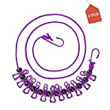 AimtoHome 2Pairs Portable Travel Elastic for Outdoor Clothesline,Indoor Clothesline,Easy to Carry Storage Travel Clothesline and Adjustable Clothesline with 12pcs Clothespins (Purple)