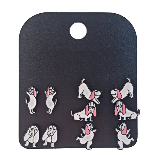 Jewelry Hound Basset - Luckeyui 5 Pairs Assorted Multiple Kung Fu Dog Basset Hound Earrings Set for Women Dog Lovers