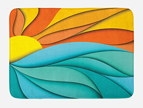 Lunarable Sun Bath Mat, Abstract Sunset and Sunrise Concept with Ocean Sea Waves Backdrop, Plush Bathroom Decor Mat with Non Slip Backing, 29.5 W X 17.5 W Inches, Turquoise Orange and Yellow