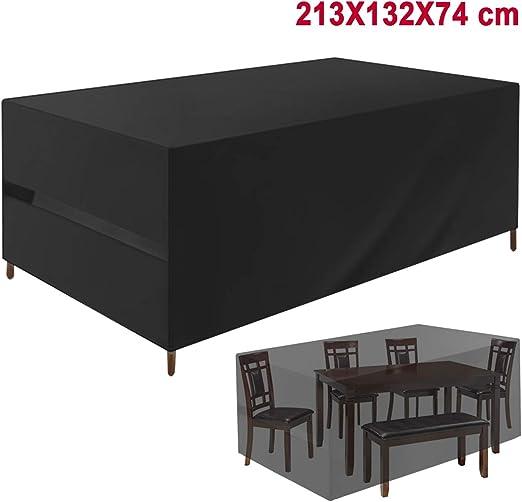 Favoto Funda para Muebles de Jardín al Aire Libre Cubierta Impermeable de Patio 420D Protectora de Polvo Lluvia Solar Viento Anti-UV para Sofá Mesa Silla 213 * 132 * 74cm Negro: Amazon.es: Jardín