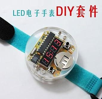 Smart Electronic single-chip LED relojes kit de reloj electrónico DIY LED Reloj digital Kit de reloj electrónico con cubierta transparente: Amazon.es: ...