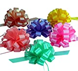 Easter Basket Ribbons - 8'' Wide, Set of 6 Pull Bows, Lavender, Mint, Yellow, Rose, Gift Bows