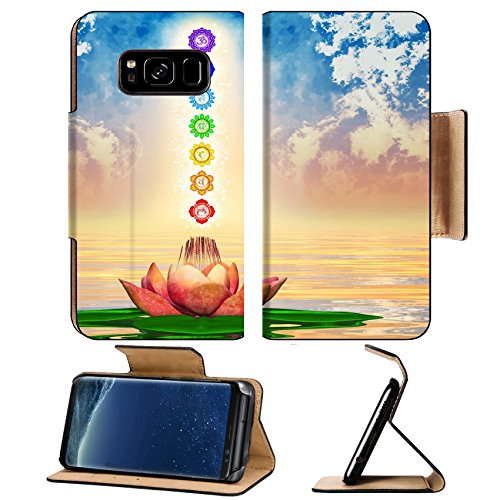 MSD Premium Samsung Galaxy S8 Plus Flip Pu Leather Wallet Case IMAGE ID: 35274300 Sacred Lotus And Chakras