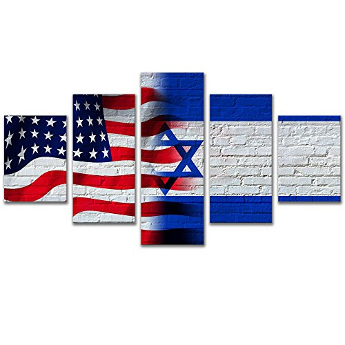 Wall Art for Office 5 Pieces Flag of The United States and Israel Giclee Artwork Wall Decor Painting Pictures with Framed,Size 200x110cm ()