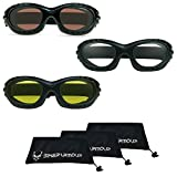 Motorcycle Goggles for Men and Women. Available From Smoke, Clear or Yellow Lenses. Large Microfiber Cleaning Case Included for Free! (HD + Clear + Yellow Combo)