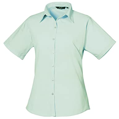 2177ff315 Premier Short Sleeve Poplin Blouse/Plain Work Shirt: Amazon.co.uk: Clothing