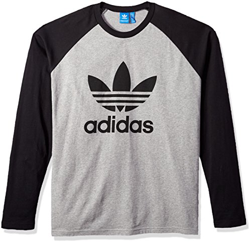 adidas Originals Men's Tops Long Sleeve Trefoil Tee, Medium Grey Heather/Black, Medium (Adidas Long Sleeve Shirt)