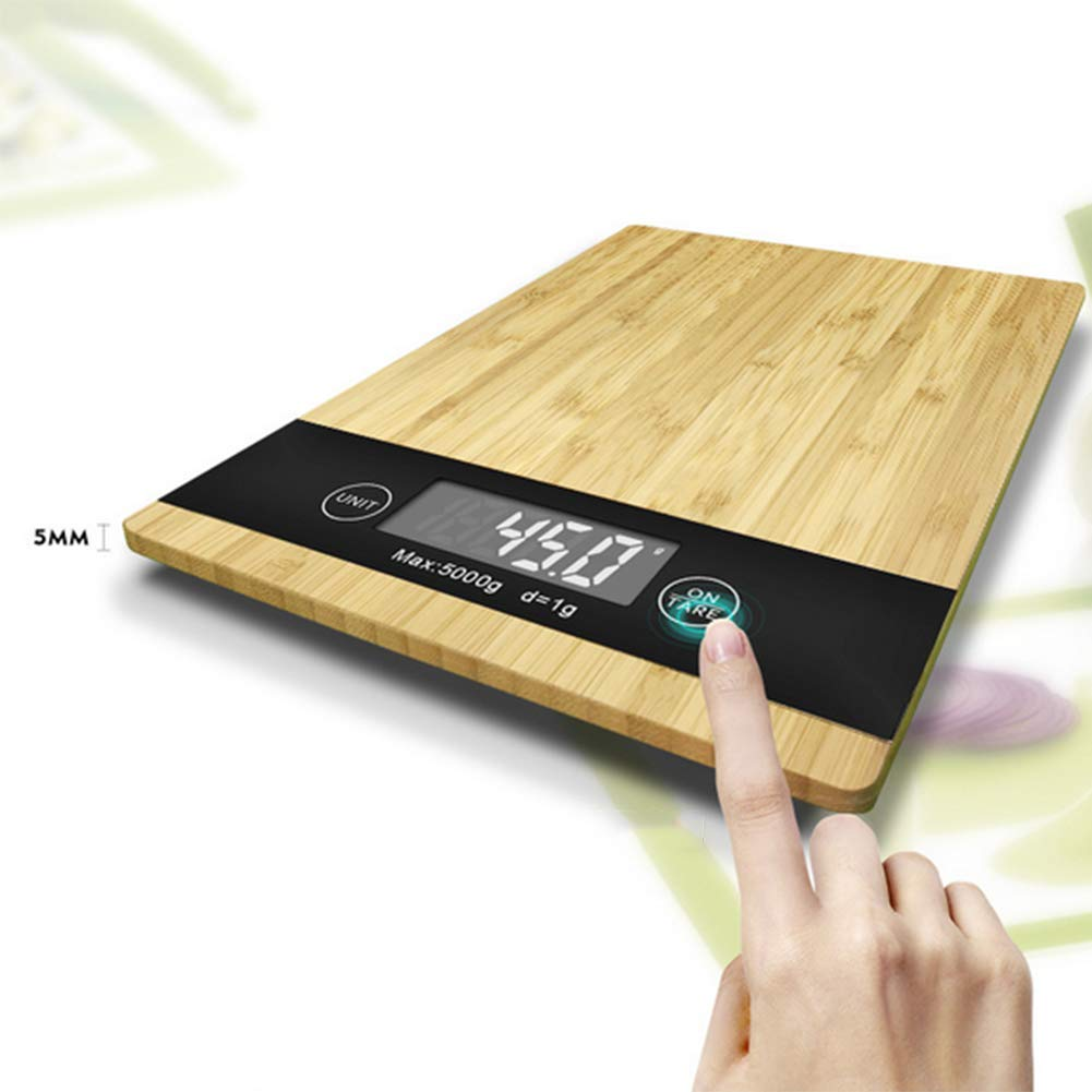 Wood Bamboo Digital Kitchen Scale Multi-Function LCD Display,Unit Conversion,Tare Function Kitchen Scale by Scale 1:1 (Image #4)