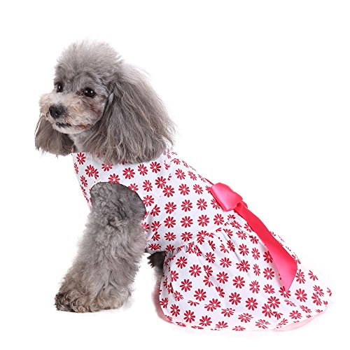 Gyoume Puppy Dog Cute Dress Dog Costumes Pet Clothing Floral Print Princess Doggy (Daisy Duke Dog Costumes)