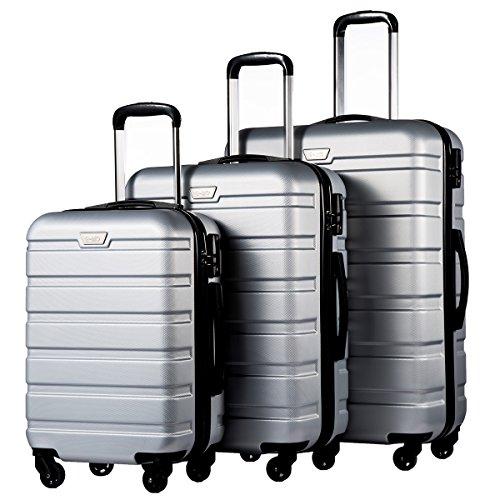 Coolife Luggage 3 Piece Set Suitcase Spinner Hardshell Lightweight (sliver3)