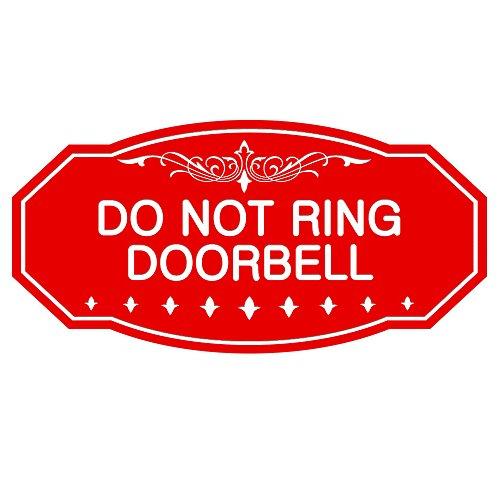 DO NOT Ring DOORBELL Victorian Door/Wall Sign (Red) - Large 5