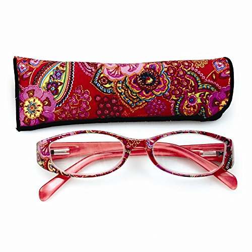 Price comparison product image Best Designer Jewelry Red With Flower Print 2.25 Magnification Reading Glasses