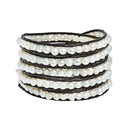 AeraVida Chic Beauty Cultured Freshwater White Pearls Five Wrap Bracelet