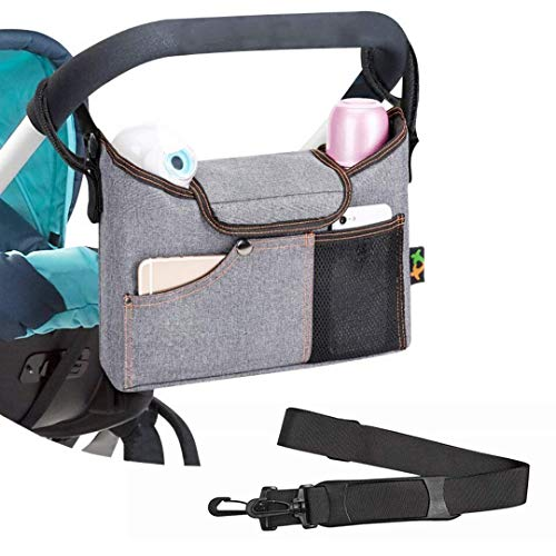 Universal Stroller Organizer, Baby Stroller Organizer Bag with Deep Cup Holders and Padded Shoulder Strap, Lightweight