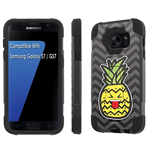TalkingCase Phone Case for Samsung Galaxy S7,GS7,Black-Black Premium Double-Layer Armor Case,Ruggedized with Kickstand,Pineapple Head Beh Tongue Print, Designed and Printed in USA ()