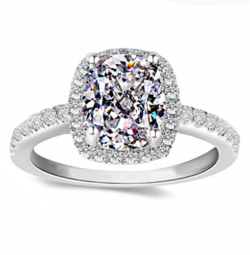 101 Facets 2 Carat Emerald Cushion Cut NSCD Halo Simulated Diamond Ring Solid 925 Silver Platinum Plated Rectangular (Emerald Cut Emerald Stone)