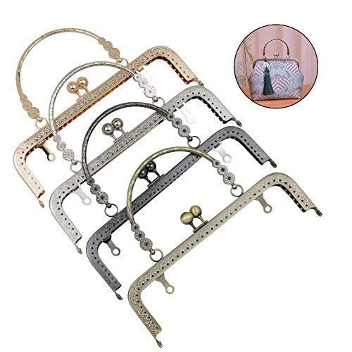 Guo Fa 4pcs kiss Clasp Lock Retro Metal Purse DIY Bag Frames Flower Square Arts Crafts Sewing for Women Girl 7.9inch Multicolor Bronze Silver Gun Black Light Gold (Multicolor, - Frame Metal Square