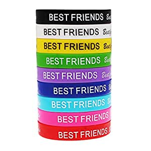 10 Mixed Color Best Friend Silicone Bracelet Wristbands