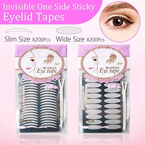 2 Packs/400Pcs Natural Invisible Single Side Eyelid Tape Stickers Medical-use Fiber Eyelid Lift Strip, Instant Eye Lift Without Surgery, Perfect for Uneven Mono-Eyelids (Eyelid Surgery Lift)