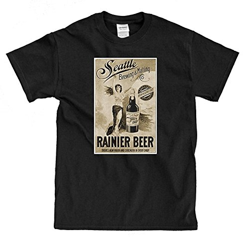 Rainier Beer Vintage Ad black T-Shirt - Shirt Beer Rainier