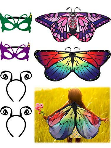 Butterfly Costumes For Children (6 Pieces Butterfly Wings Costume with Mask Antenna Headband for Kids Halloween Party (Style)