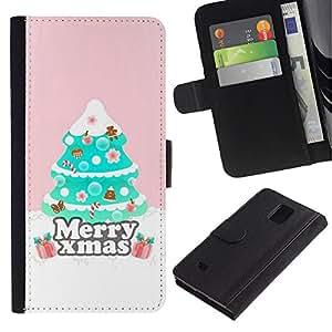 KingStore / Leather Etui en cuir / Samsung Galaxy Note 4 IV / Árbol de Navidad Rosa de invierno